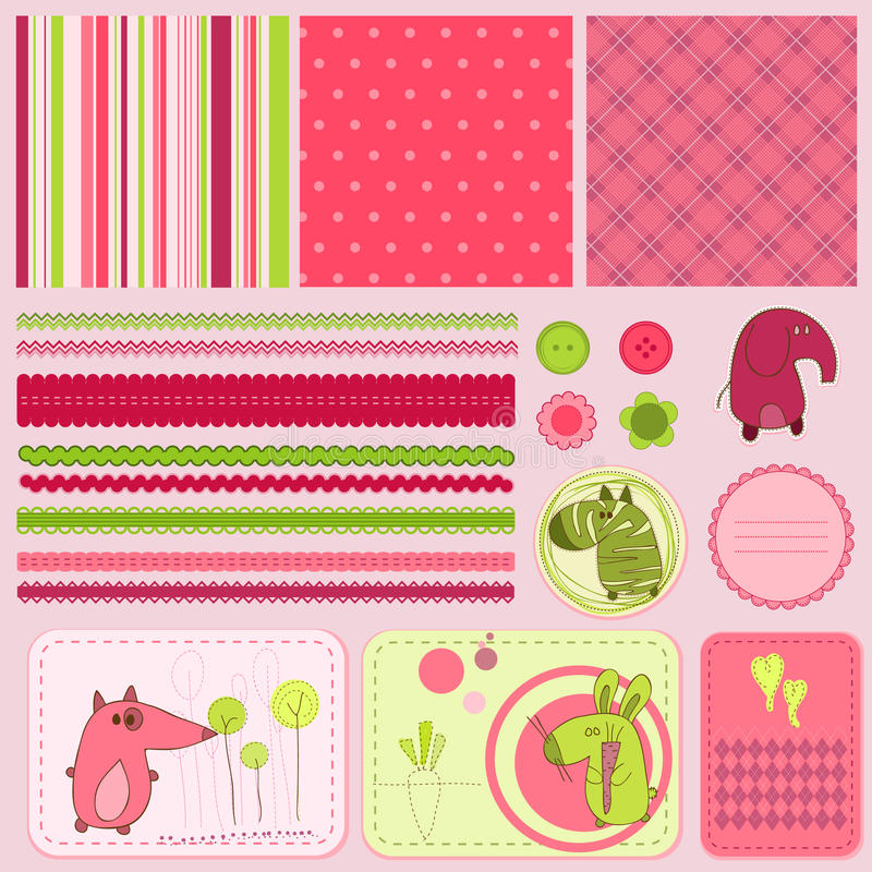 Elementi di disegno per l'album del bambino illustrazione di stock