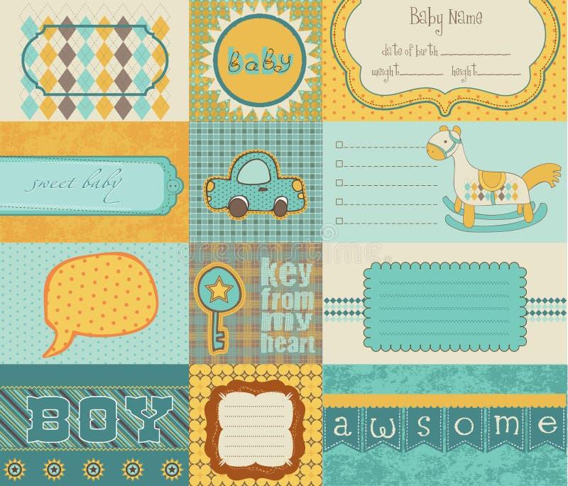 Elementi di disegno per l'album del bambino illustrazione vettoriale