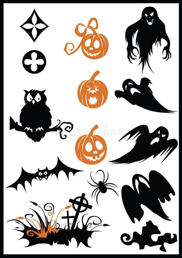 Elementi di disegno su un tema di Halloween illustrazione vettoriale