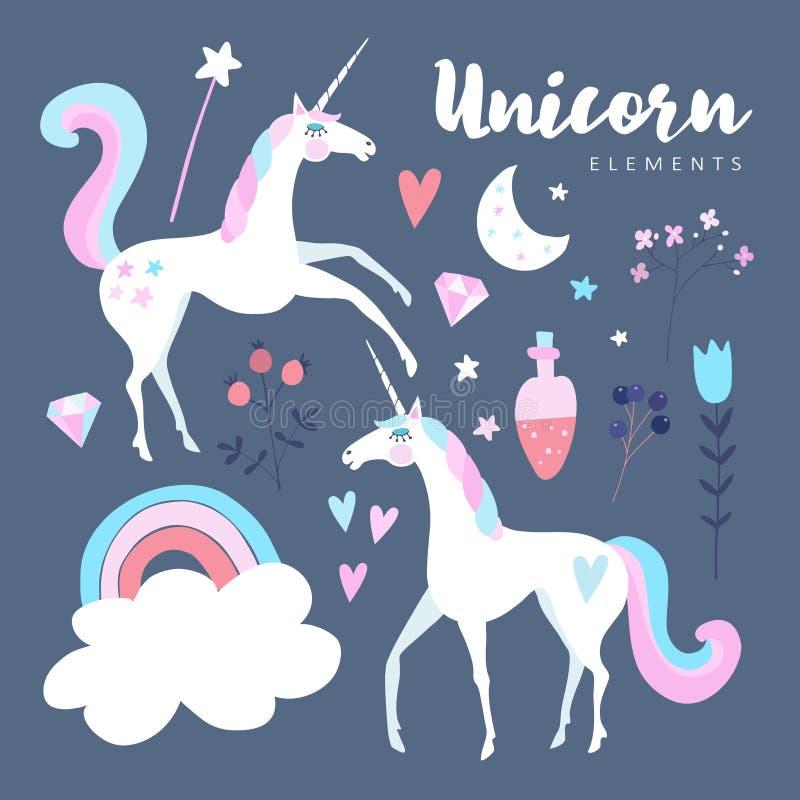 Elementi di favola Unicorno con l'arcobaleno, le stelle, la nuvola, la pozione magica ed i fiori illustrazione di stock