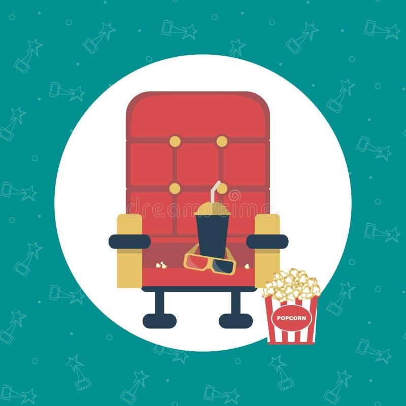 Elementi di film della composizione: poltrona rossa, popcorn illustrazione vettoriale