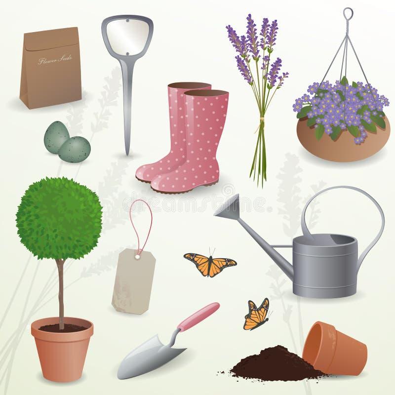 Elementi di giardinaggio illustrazione di stock