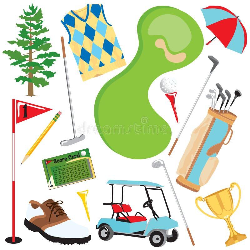Elementi di golf illustrazione vettoriale