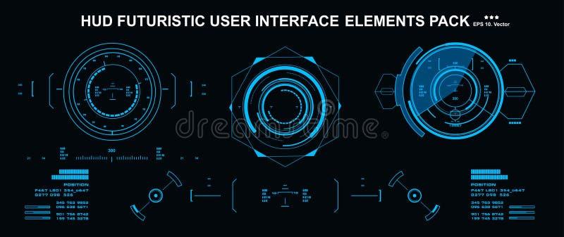 Elementi di HUD pacchetto stabilito mega Schermo di tecnologia di realt? virtuale dell'esposizione del cruscotto Interfaccia uten illustrazione di stock