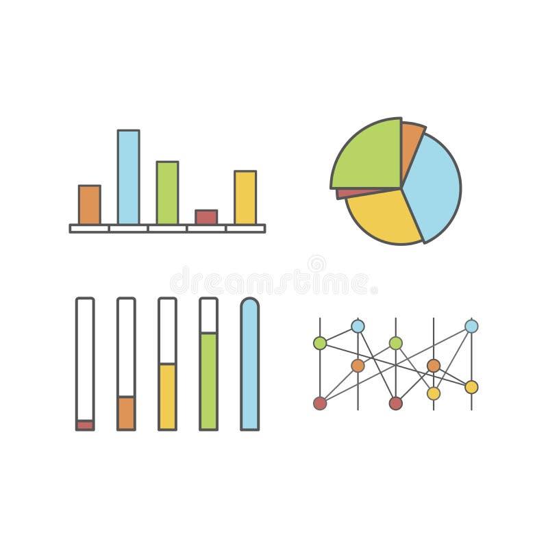 Elementi di Infographic - barra e linea grafici, le percentuali, diagrammi a torta, punti, opzioni, cronologia, infographics dell royalty illustrazione gratis