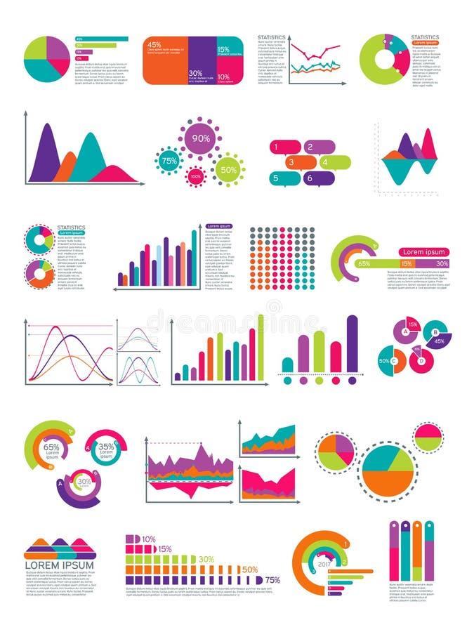 Elementi di infographic con il diagramma di flusso Modello della disposizione del sito Web dei diagrammi di statistiche di vettor illustrazione di stock