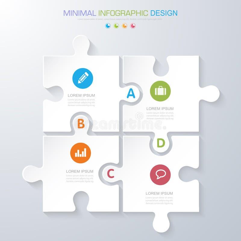 Elementi di Infographic con l'icona di affari sul processo in background di colore pieno o sui punti e sui diagrammi di flusso di royalty illustrazione gratis