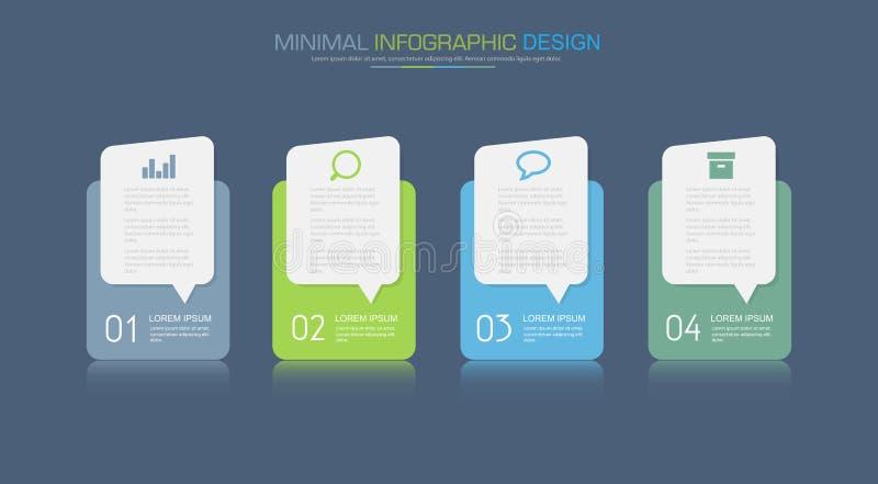 Elementi di Infographic con l'icona di affari sul processo del cerchio del fondo di colore pieno o sui punti e sui diagrammi di f illustrazione vettoriale