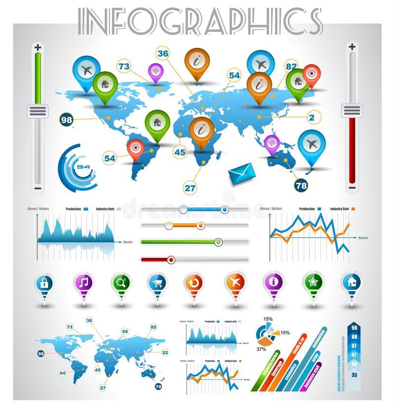 Elementi di Infographic - insieme delle etichette di carta illustrazione di stock
