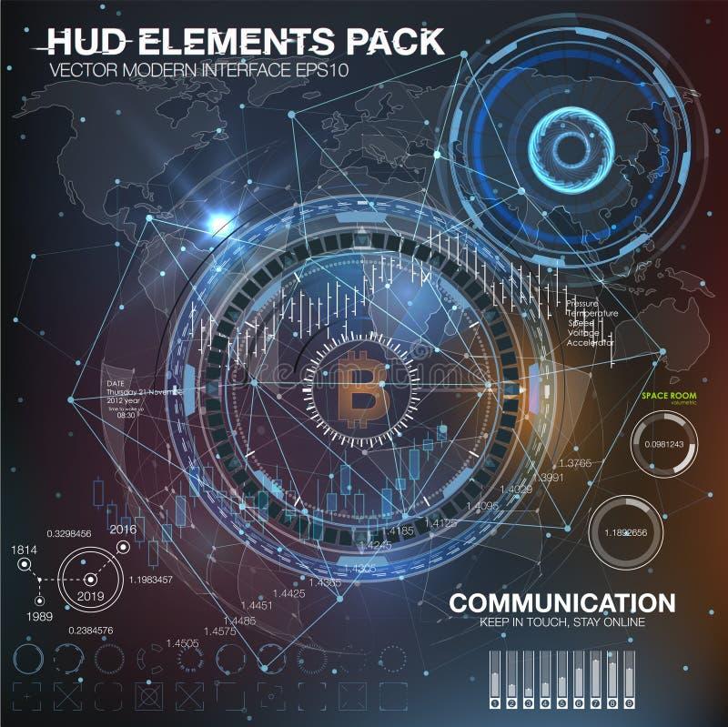 Elementi di Infographic interfaccia utente futuristica HUD UI UX Estratto illustrazione vettoriale
