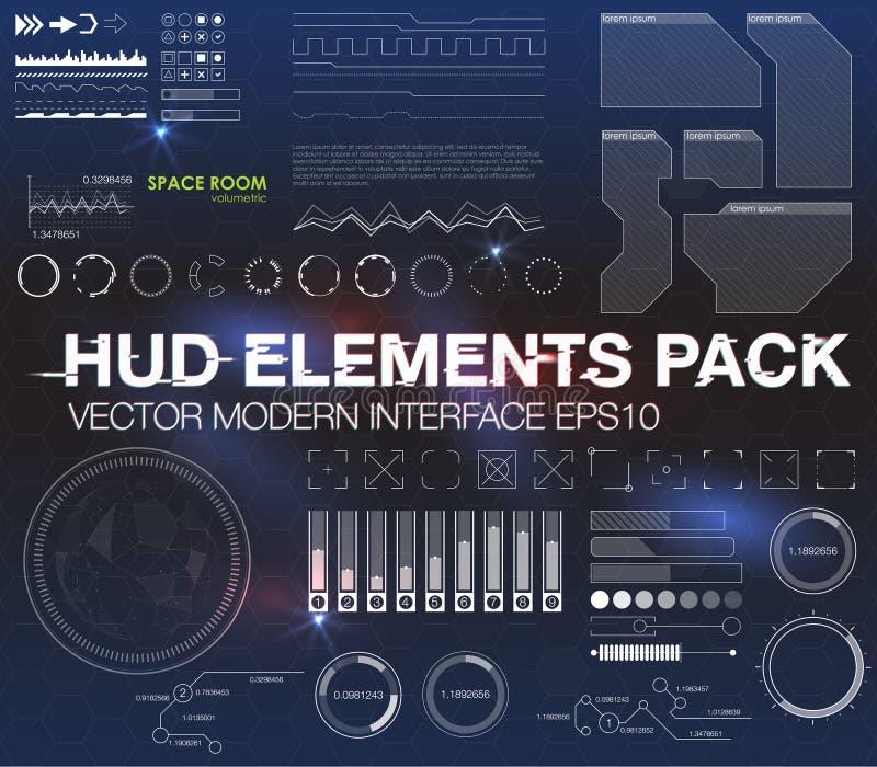Elementi di Infographic interfaccia utente futuristica HUD UI UX Fondo astratto con i punti e le linee di collegamento royalty illustrazione gratis