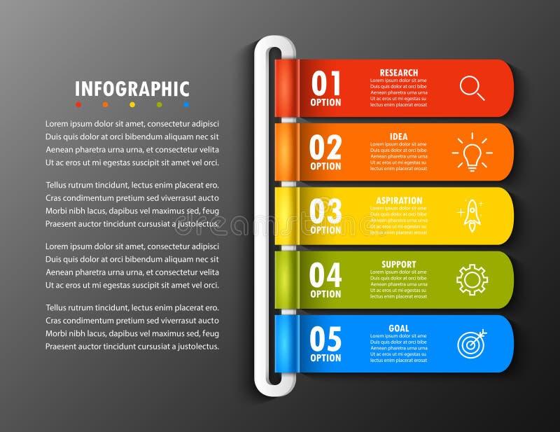Elementi di Infographic in una cronologia moderna di modo di cinque opzioni royalty illustrazione gratis