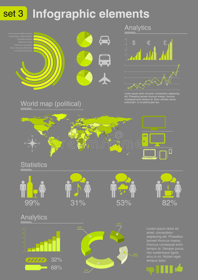 Elementi di Infographics con le icone (imposti 3) illustrazione vettoriale