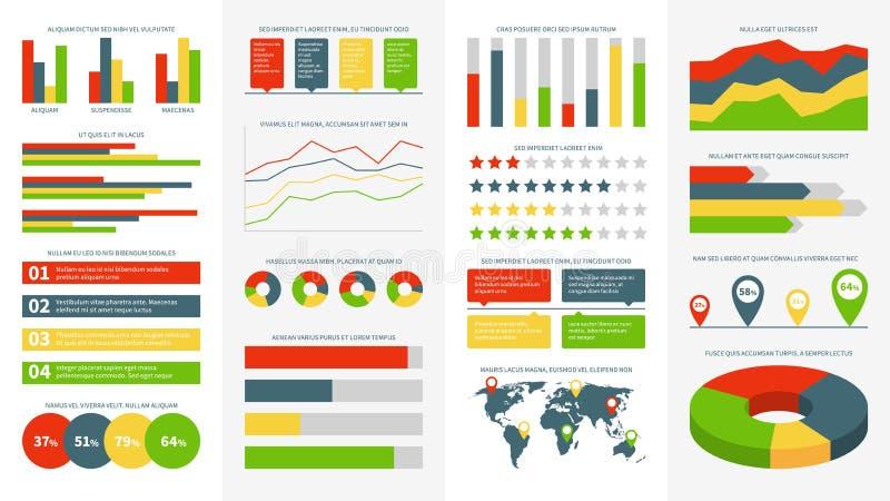 Elementi di Infographics Grafici, diagrammi e grafici di informazioni Diagramma di flusso e cronologia per il vettore di presenta illustrazione di stock