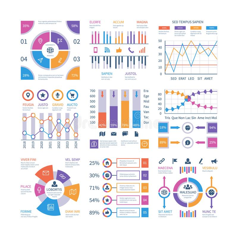 Elementi di Infographics Scorre il infograph, la cronologia del grafico trattato, grafico dell'organizzazione del diagramma di pu illustrazione di stock