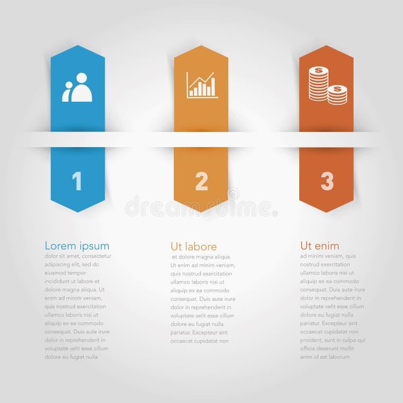 Elementi di infographics di vettore tre opzioni Disegnato a mano illustrazione di stock