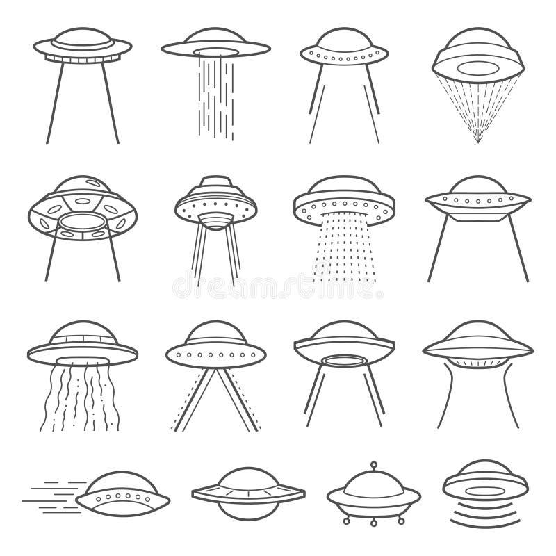 Elementi di logo del UFO Fenomeni paranormali di simbolo mistico illustrazione vettoriale