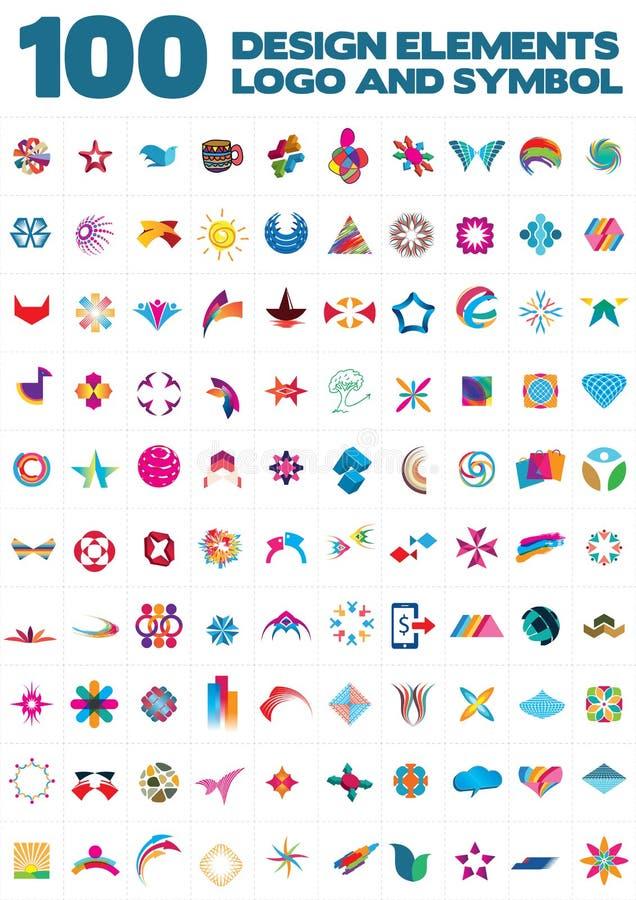 Elementi di logo, di simbolo e di progettazione illustrazione vettoriale
