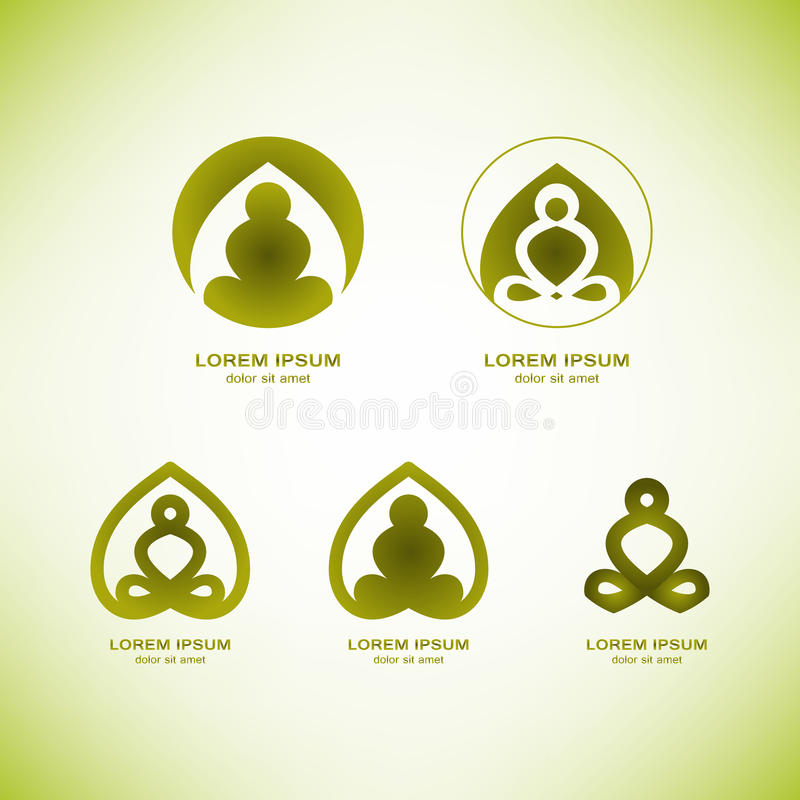 Elementi di logo di yoga di vettore immagine stock libera da diritti