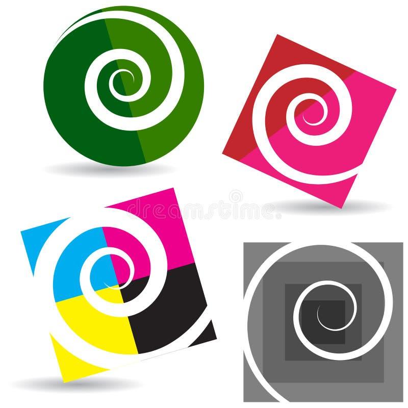 Elementi di logo - vanno concetto del cmyk e di verde illustrazione vettoriale
