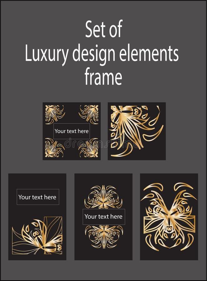 Elementi di lusso decorativi di progettazione dell'oro illustrazione di stock