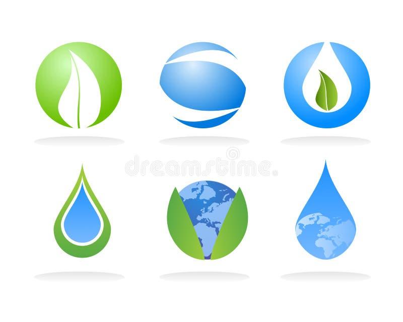 Elementi di marchio della natura di ecologia illustrazione vettoriale