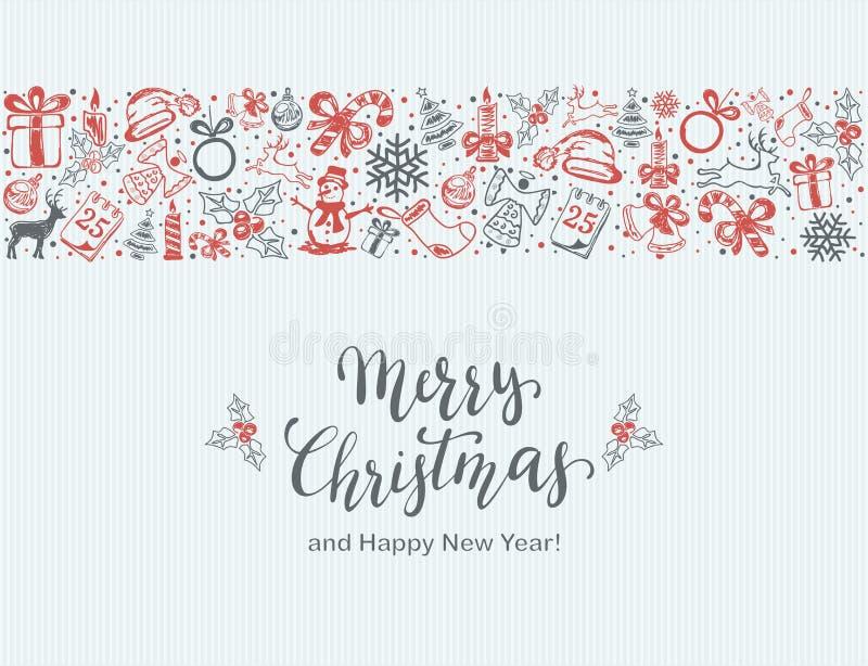 Elementi di Natale su fondo blu illustrazione di stock