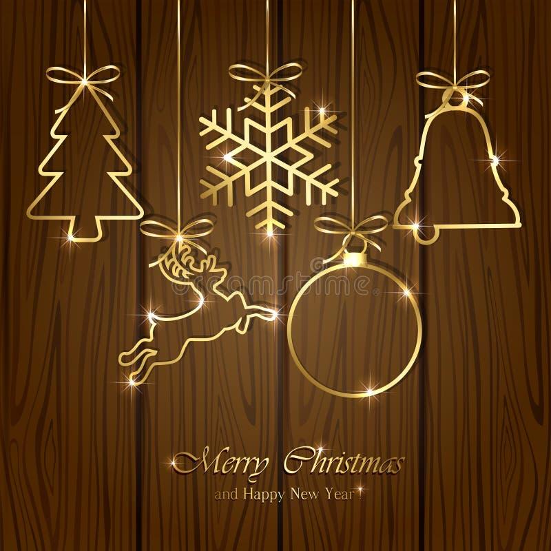 Elementi di Natale su fondo di legno illustrazione di stock