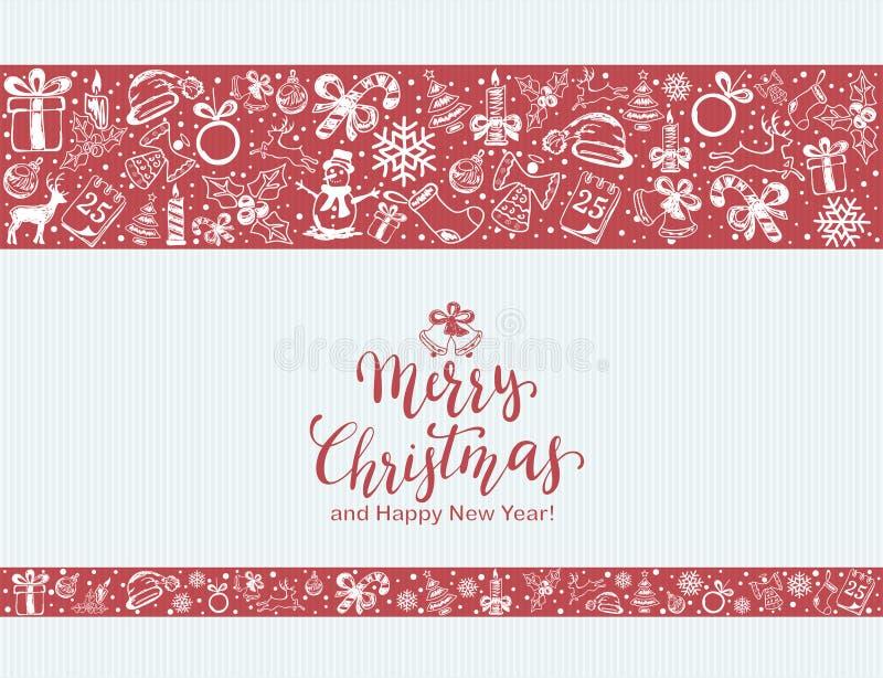 Elementi di Natale su fondo rosso e blu illustrazione vettoriale