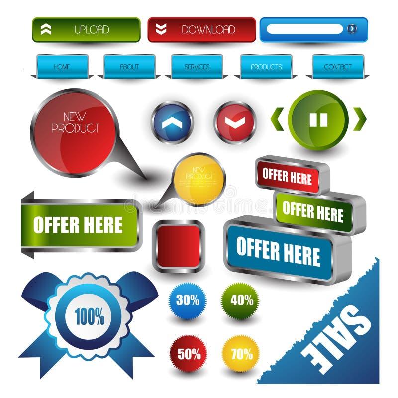 Elementi di navigazione del modello di web design: Bottoni di navigazione con gli ornamenti illustrazione vettoriale