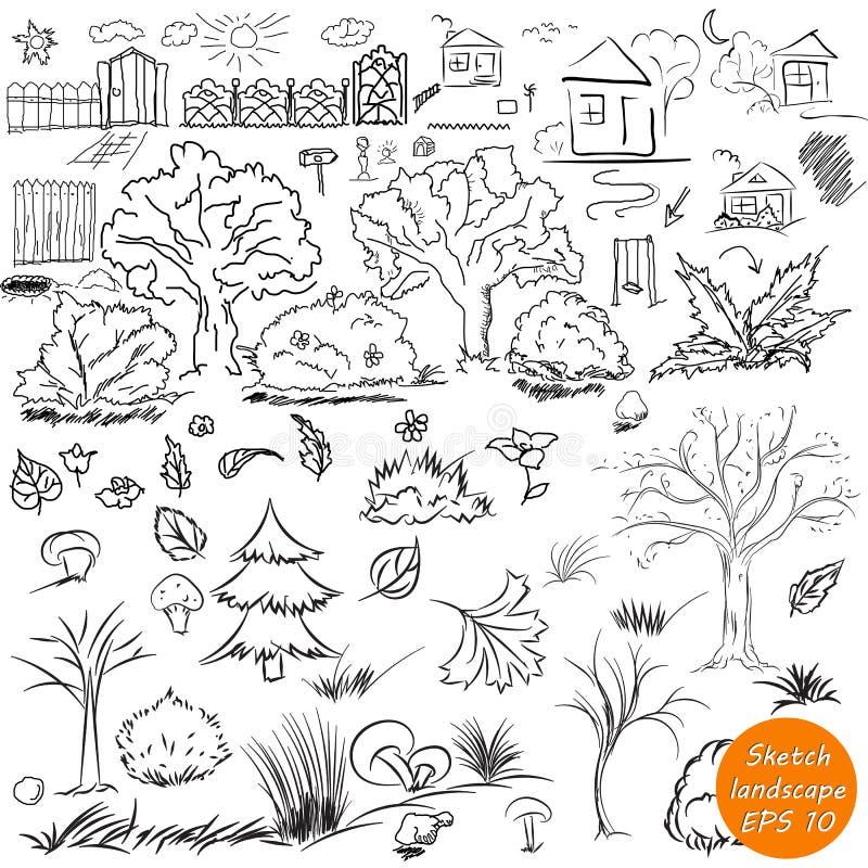 Elementi di paesaggio nel profilo Elementi all'aperto di schizzo di scarabocchio royalty illustrazione gratis