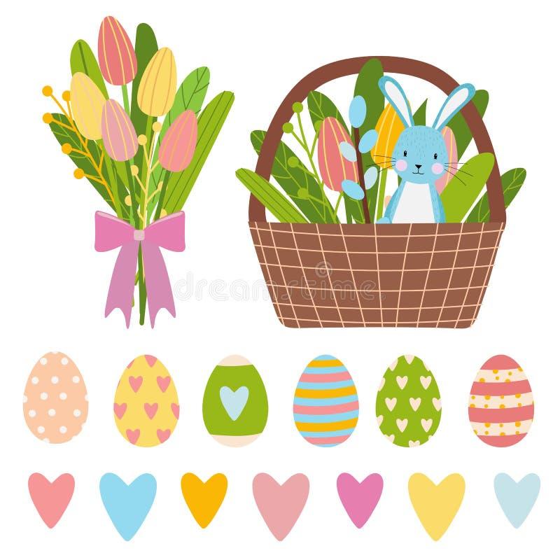 Elementi di Pasqua per tempo di molla fatto delle uova variopinte, del mazzo dei fiori e del secchio marrone con i tulipani ed il illustrazione vettoriale