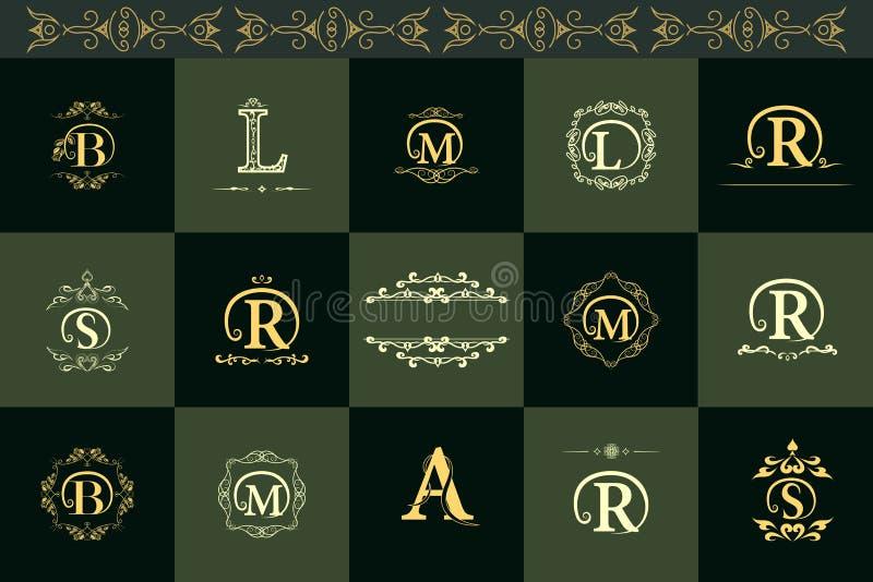 Elementi di progettazione del monogramma, modello grazioso illustrazione di stock
