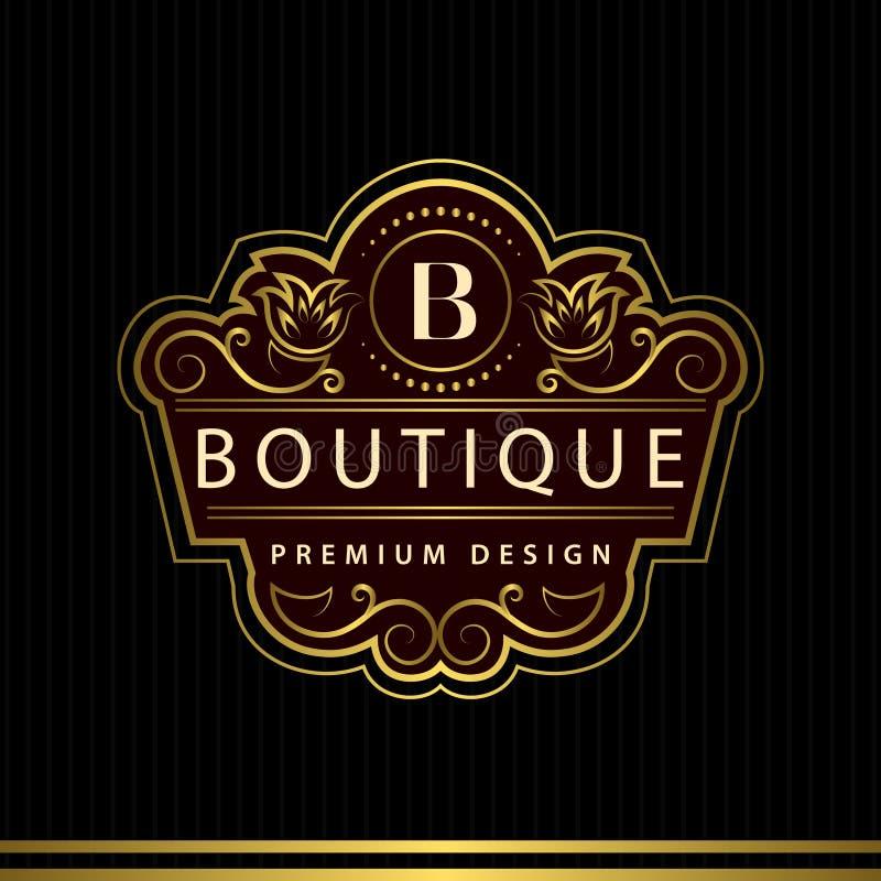 Elementi di progettazione del monogramma, modello grazioso Linea elegante calligrafica identità dell'emblema B della lettera di p royalty illustrazione gratis