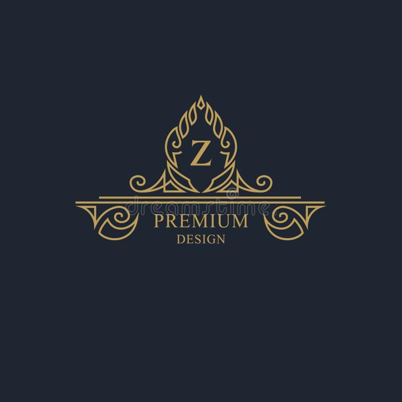 Elementi di progettazione del monogramma, modello grazioso Linea elegante calligrafica progettazione di logo di arte Segno Z dell illustrazione di stock