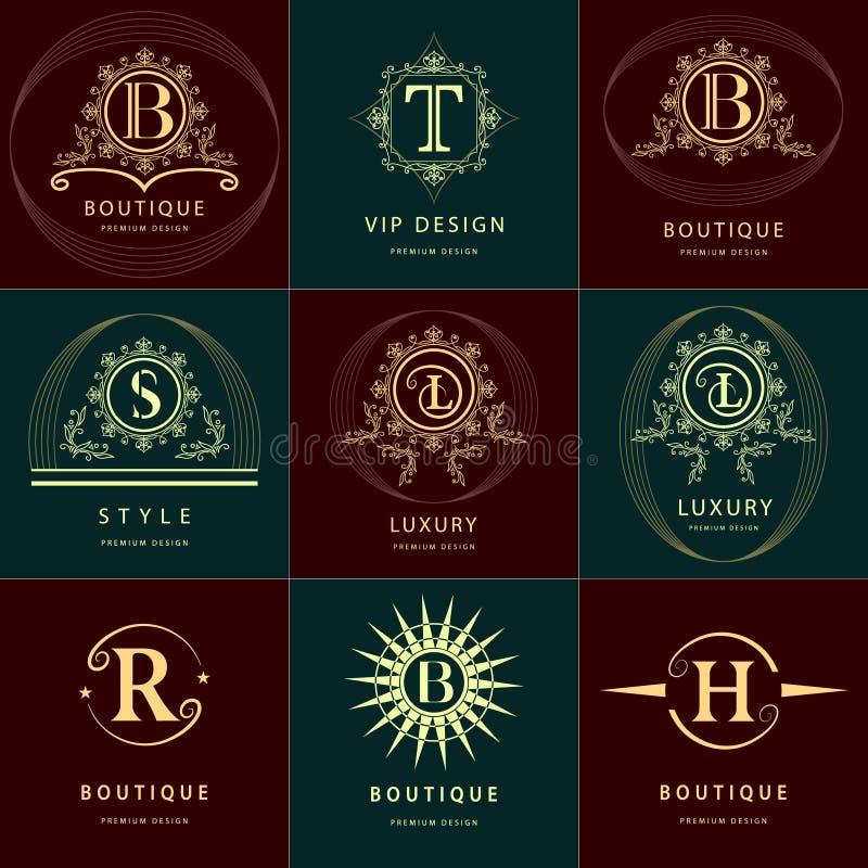 Elementi di progettazione del monogramma, modello grazioso Linea elegante calligrafica progettazione di logo di arte royalty illustrazione gratis