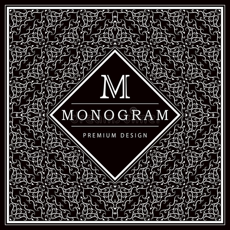 Elementi di progettazione del monogramma, modello grazioso Linea elegante calligrafica progettazione di logo di arte Lettera m De illustrazione di stock