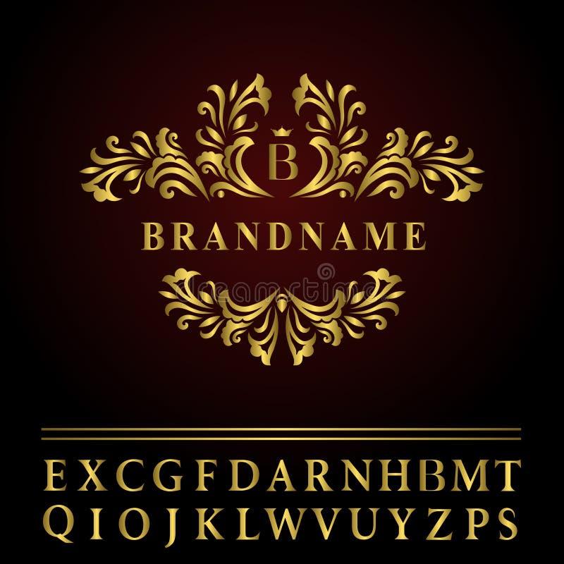 Elementi di progettazione del monogramma, modello grazioso Linea elegante progettazione di logo di arte Lettera B dell'emblema de illustrazione di stock