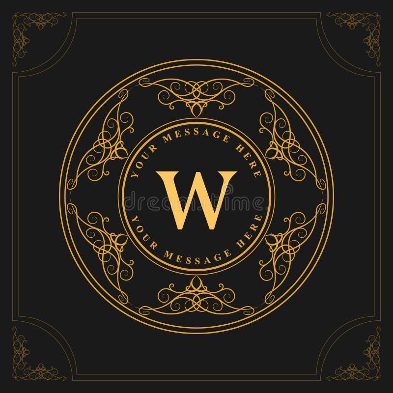Elementi di progettazione del monogramma, modello grazioso Linea elegante progettazione di logo di arte Lettera W dell'emblema Re illustrazione vettoriale