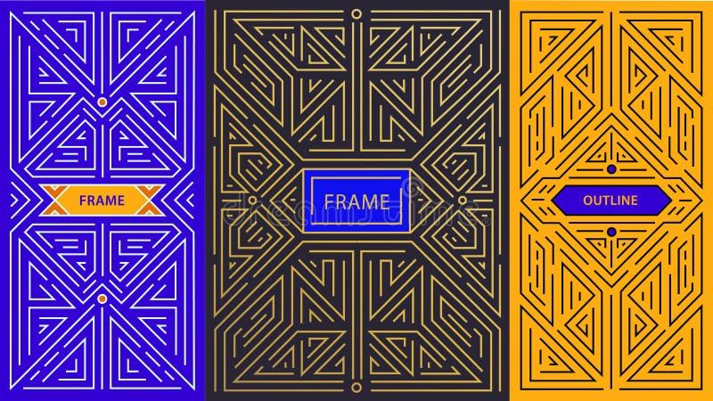 Elementi di progettazione del monogramma di vettore in annata d'avanguardia e nella mono linea stile con spazio per testo - geome royalty illustrazione gratis