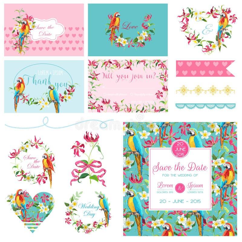 Elementi di progettazione dell'album per ritagli Fiori di nozze ed insieme tropicali dell'uccello del pappagallo illustrazione vettoriale