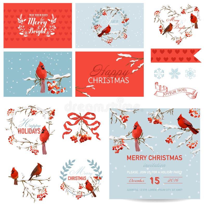 Elementi di progettazione dell'album per ritagli - uccelli d'annata e Berry Theme di Natale illustrazione di stock
