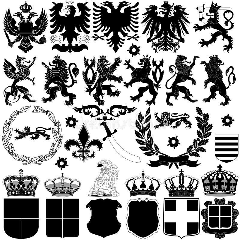 Elementi di progettazione dell'araldica illustrazione di stock