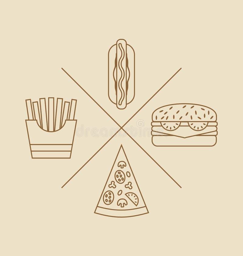 Elementi di progettazione dell'illustrazione per il logo di alimenti a rapida preparazione illustrazione di stock
