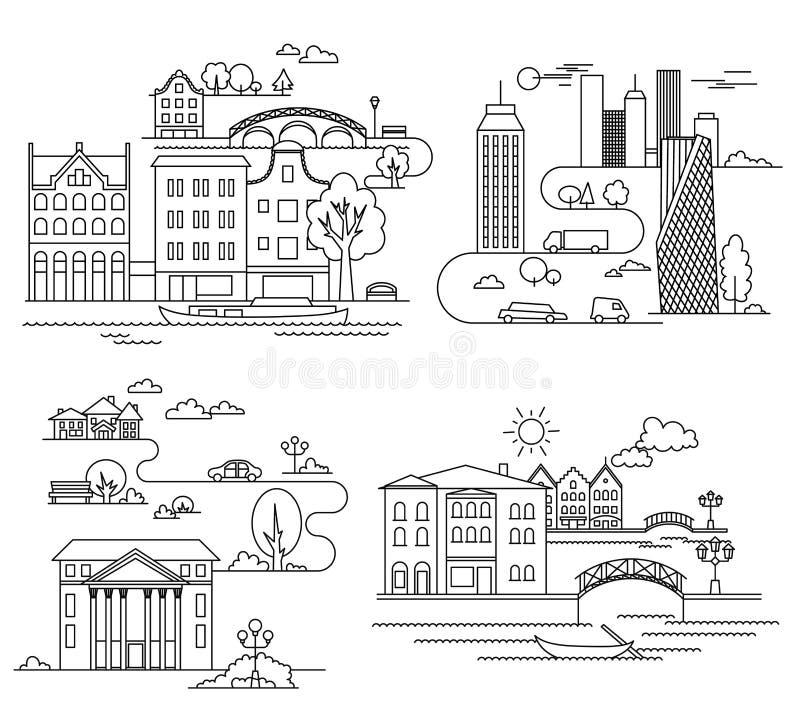 Elementi di progettazione della città stile lineare Illustrazione di vettore illustrazione di stock