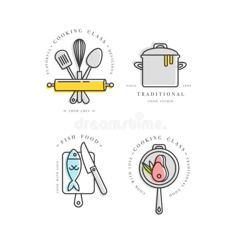 Elementi di progettazione della classe di cottura, emblemi della cucina, simboli, icone o etichette dello studio dell'alimento e  illustrazione vettoriale