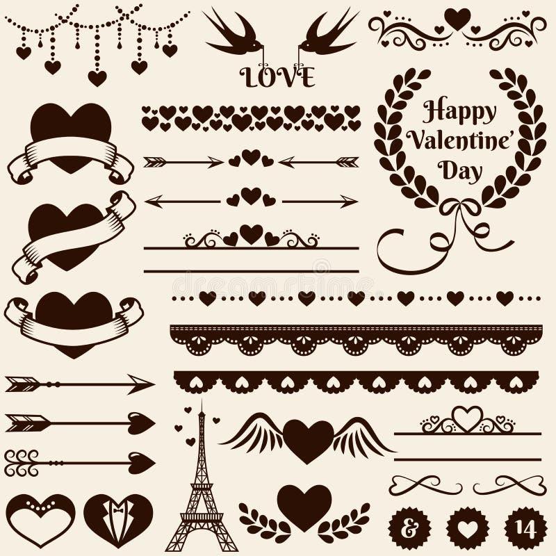Elementi di progettazione di amore, di romance e di nozze Insieme di vettore royalty illustrazione gratis