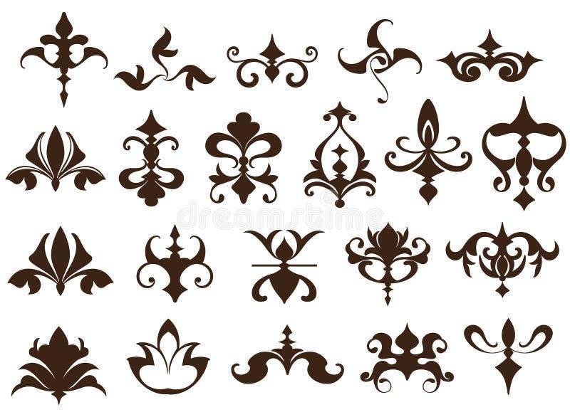 Elementi di progettazione di art deco degli angoli d'annata dei confini e degli ornamenti degli elementi semplici di flourishes d illustrazione di stock