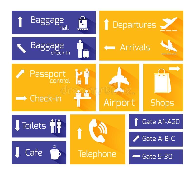 Elementi di progettazione di Infographic di navigazione dell'aeroporto illustrazione di stock