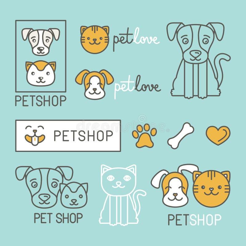 Elementi di progettazione di logo dell'animale domestico illustrazione di stock